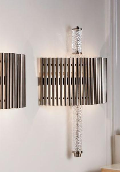 High end modern Italian wall light with metal rods and crystal detail