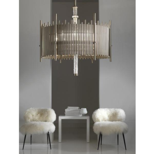 Chic modern Italian metal pendant light with faceted crystal detail