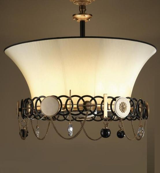 Chic ceiling light with Swarovski crystals and silk shade, measuring 90 cm in diameter