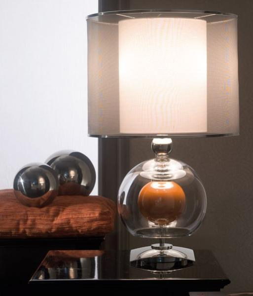 Chic Italian designer table light with clear and amber spheres