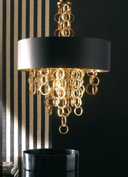 Modern golden brass and iron chandelier from Italy with black and gold shade
