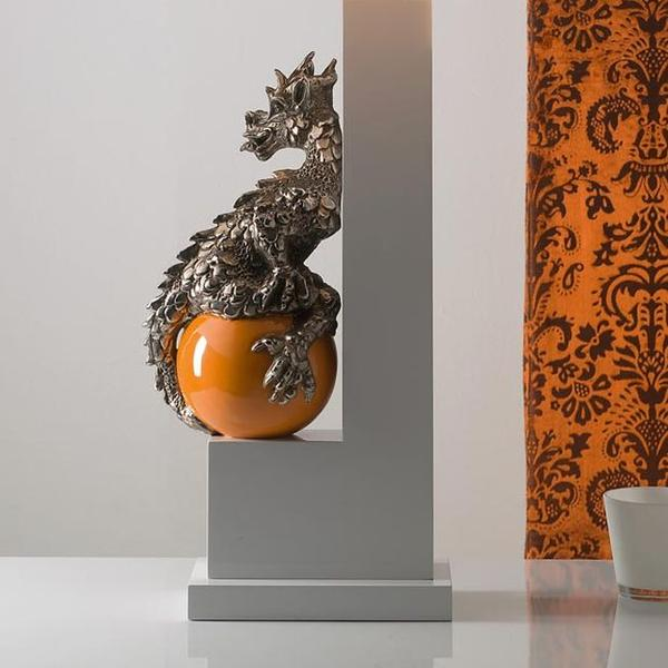 Orange majolica dragon table light with platinum detail