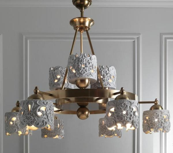 Beautiful Italian ceramic and brass chandelier with lace design