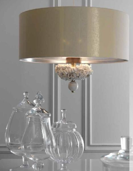 Chic Italian ceiling pendant light with majolica curls & silk linen shade