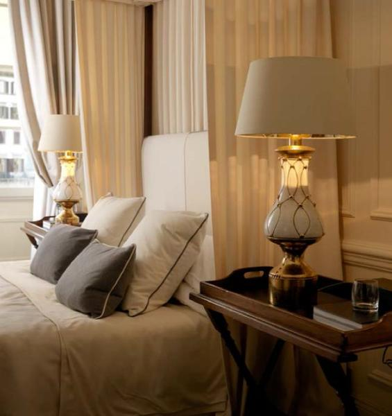 White ceramic hotel-style table lamp with copper detail
