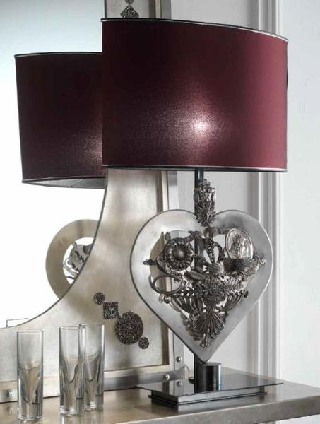 Pretty silver metal table lamp with decorative heart and red shade from Italy