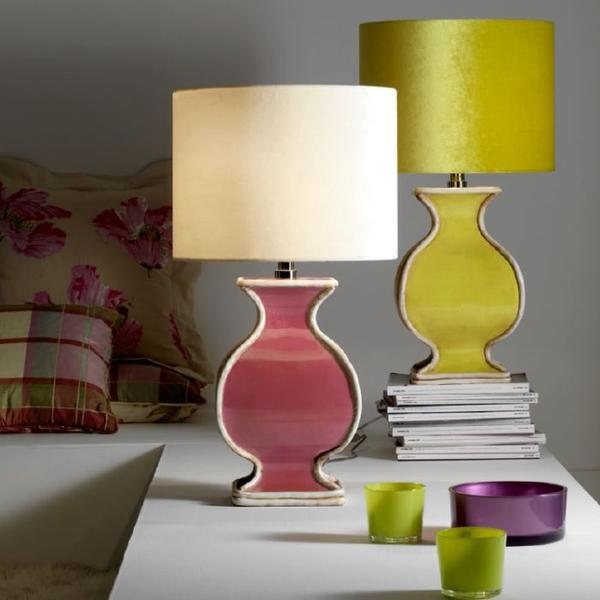 Large orange, pink, green ,black, or white table lamp with silk velvet shade