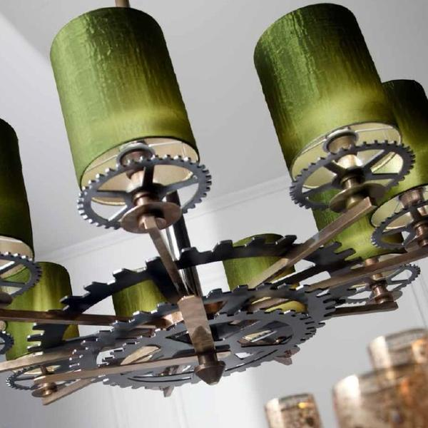 Deluxe modern industrial chic chandelier with green shades & exposed clock workings