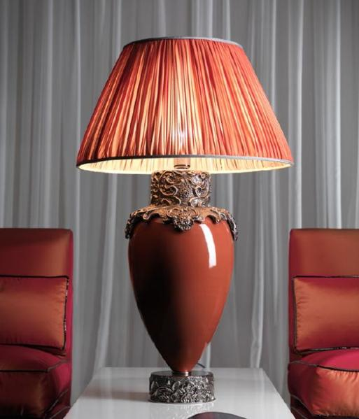 Luxury Italian ceramic table lamp in 4 colours with precious metal plating
