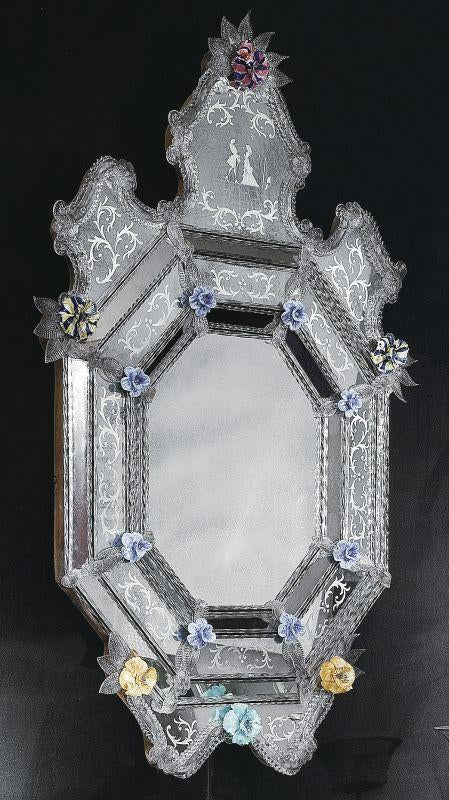 Very special classic Venetian wall mirror with handcrafted Murano glass roses