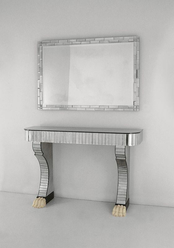 Elegant large rectangular art deco wall mirror with bevelled edges