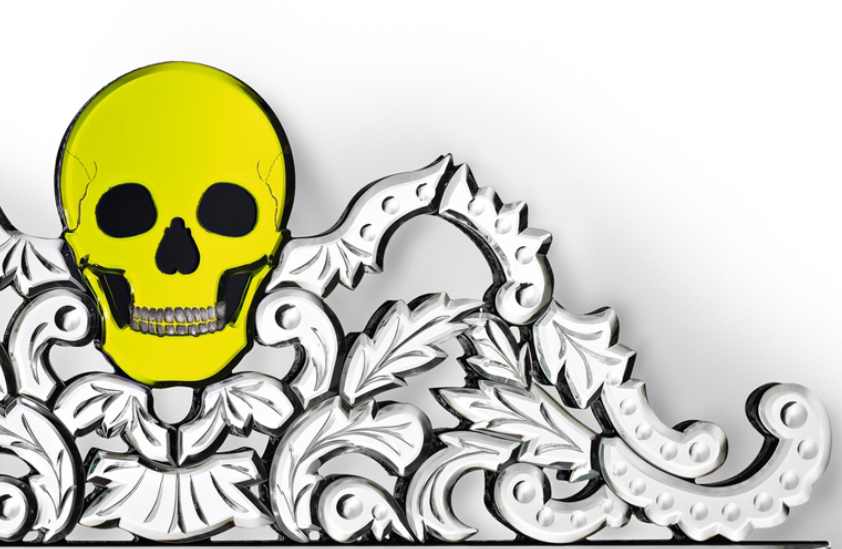 Unique Venetian skull and crossbones wall mirror in custom colours