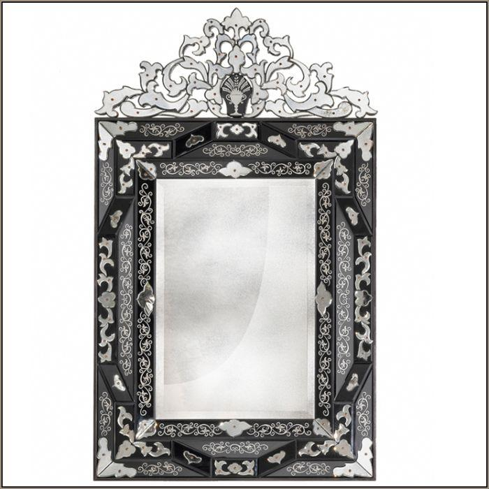 Classic bevelled edge Venetian mirror with fretwork flower detail
