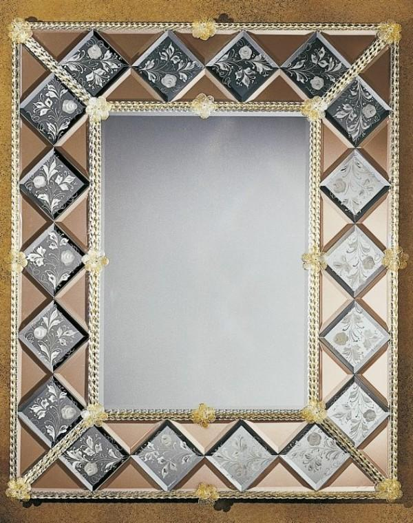 Large hand-engraved Venetian mirror with gold-infused Murano glass detail