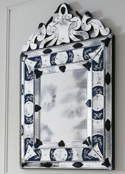 Large bespoke Venetian mirror in the traforo style with bespoke colors