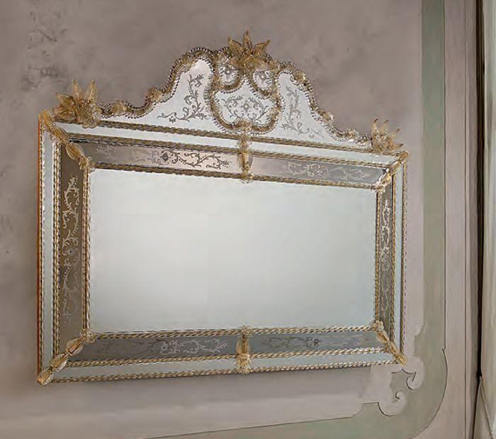 Large horizontal Venetian mirror with Murano glass