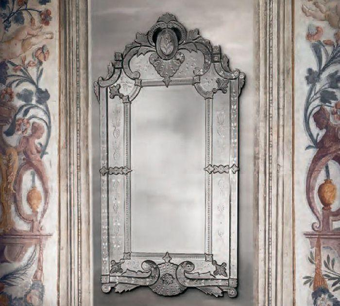 Tall classic 18th century-style hand-bevelled and antiqued Venetian wall mirror