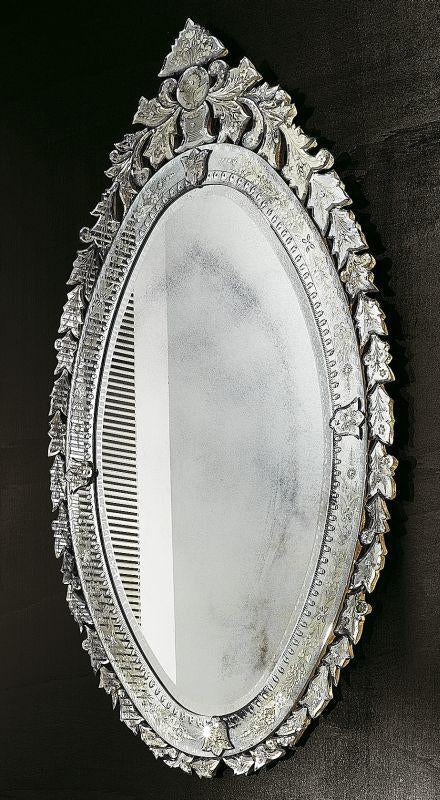 Large oval Venetian wall mirror with bevelled edges