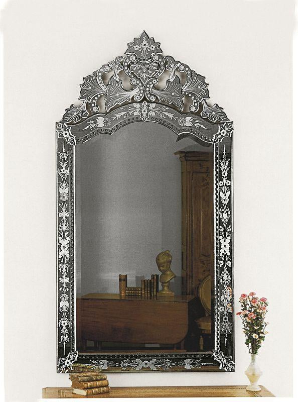 Traditional antiqued and engraved Venetian wall mirror