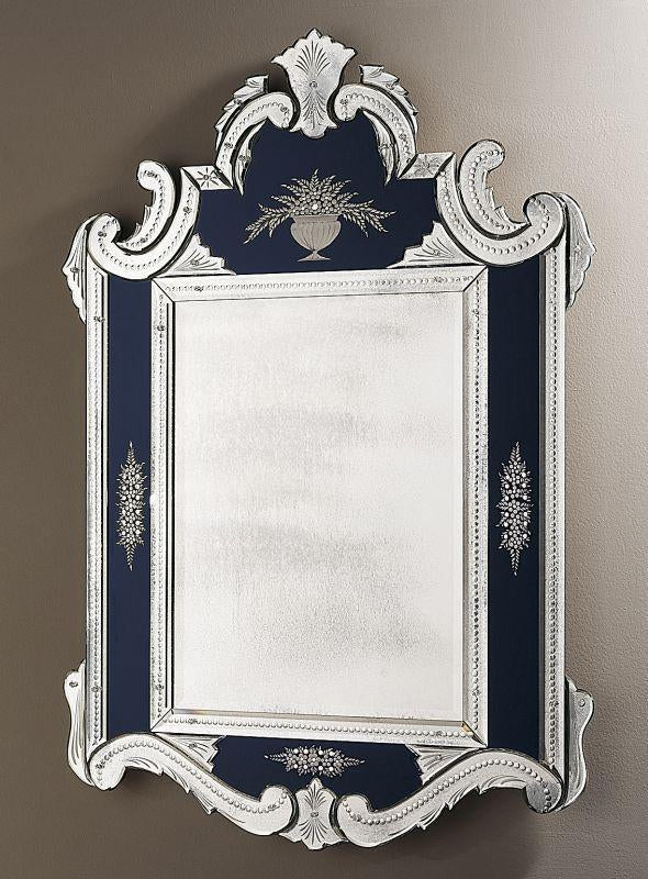 Classic French style Venetian mirror with custom Murano glass colors