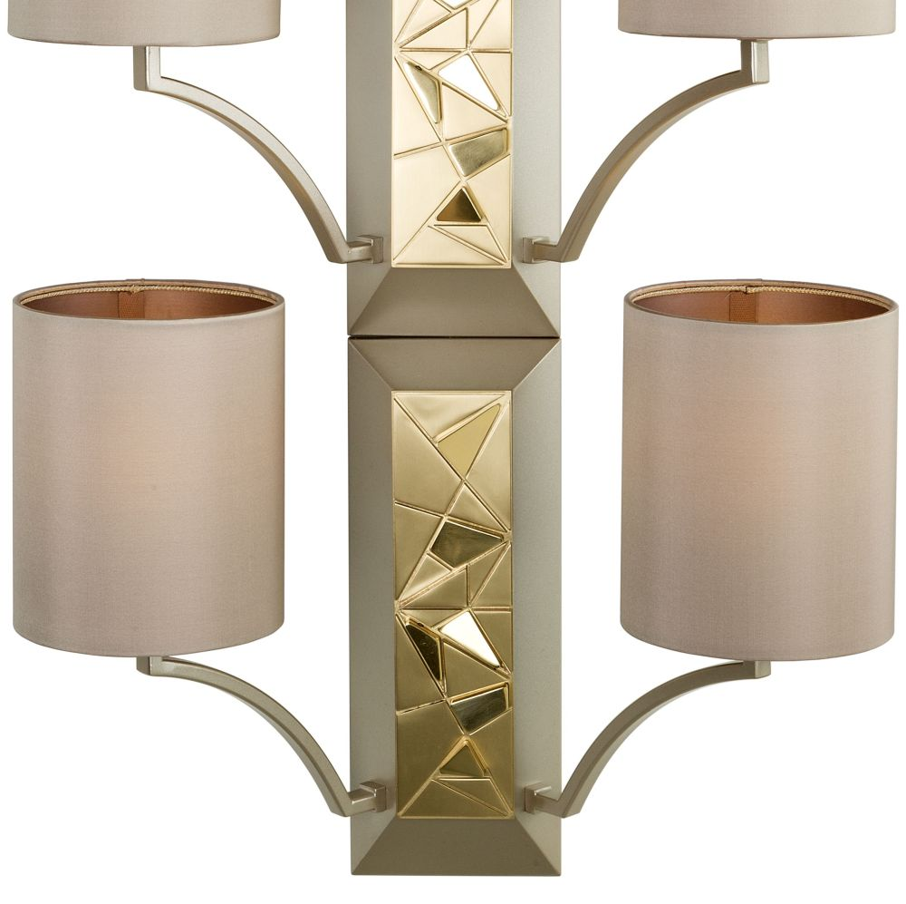 Chic tall Italian metal wall light with 6 shades and gold accents