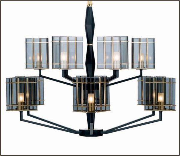 Luxury modern 12 light Italian chandelier with black and smoked glass