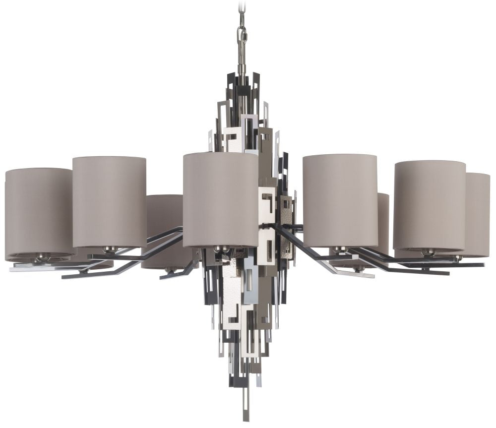 Striking modern silver nickel chandelier with 12 silk shades