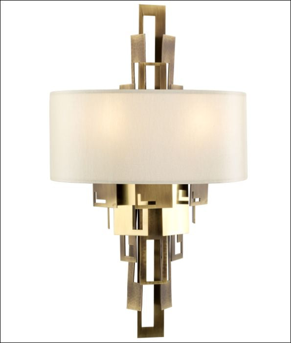 Fabulous modern boutique style brass wall light from Italy with silk shade