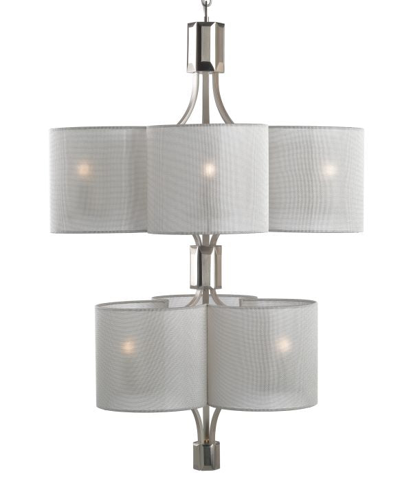 Boutique-style Italian ceiling light with 9 silver shades