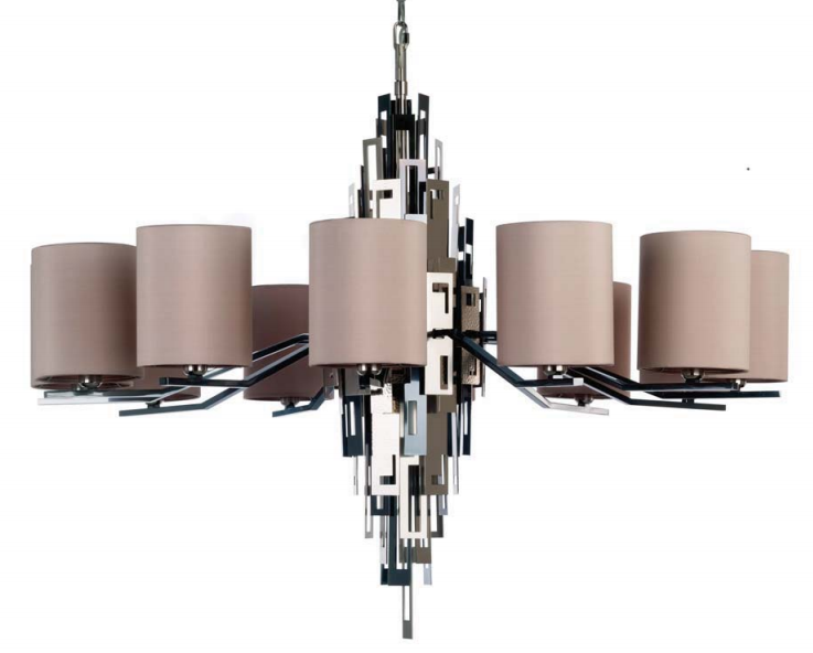 Upmarket modern Italian chandelier with mix of metal finishes and 12 lights