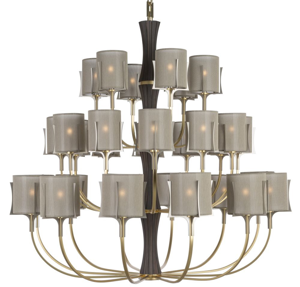 Luxury satin gold chandelier with 24 lights and leather detail