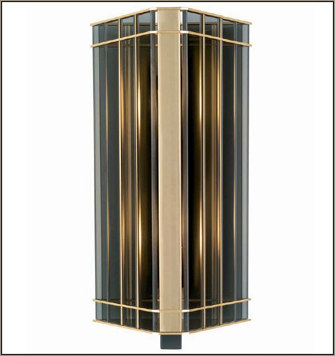 46 cm smoked glass lantern-style wall light with black frame