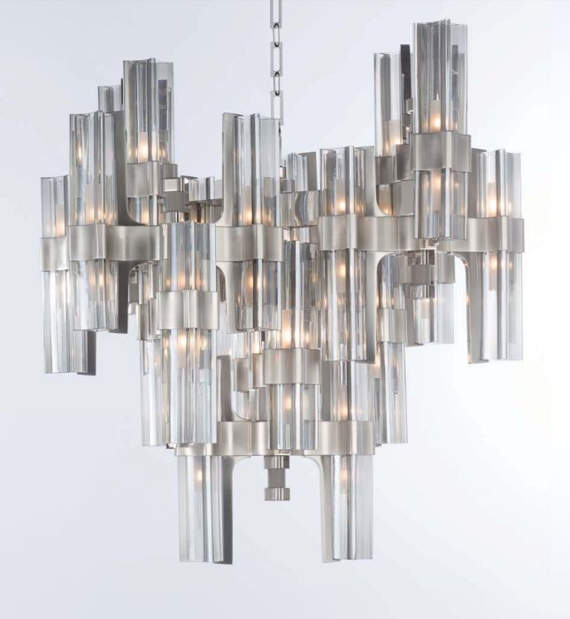 40 light high-end Italian chandelier with grey leather trim