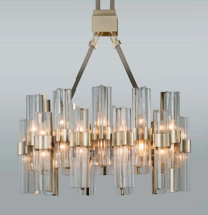 40 light high-end modern gold chandelier with leather trim