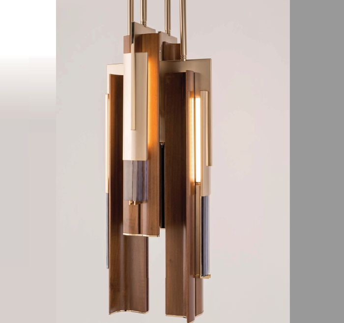 Unusual high-end modern walnut chandelier with gold frame