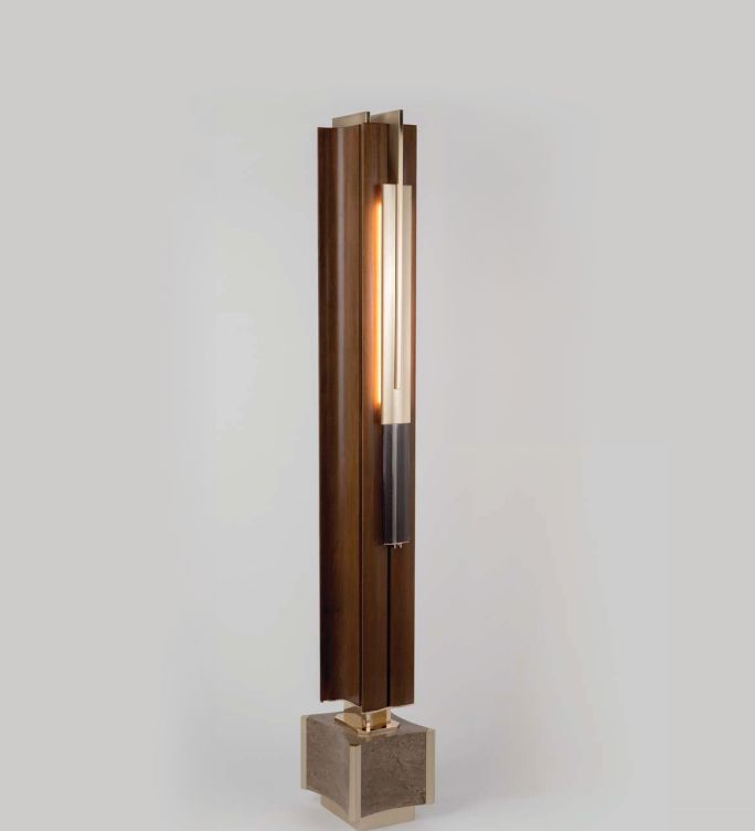 High-end modern walnut and marble floor lamp from Italy