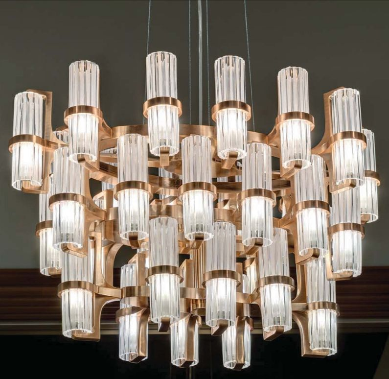 36 light 50s style chandelier with pink gold frame and satin glass diffusers
