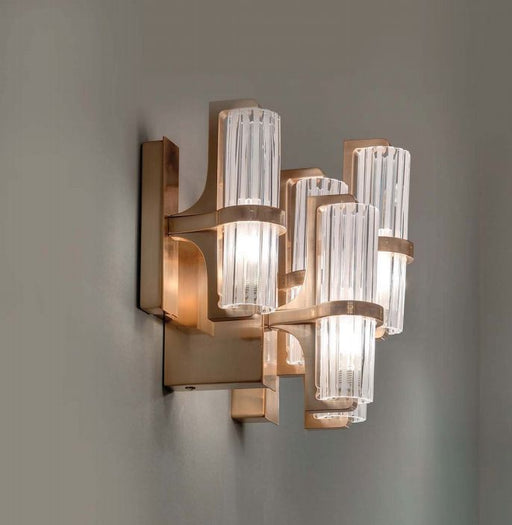 Stylish modern Italian wall light with pink gold frame & glass shades