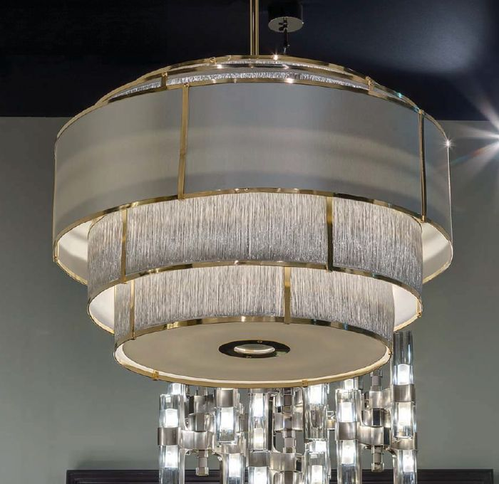 Large modern light round gold chandelier with grey shades