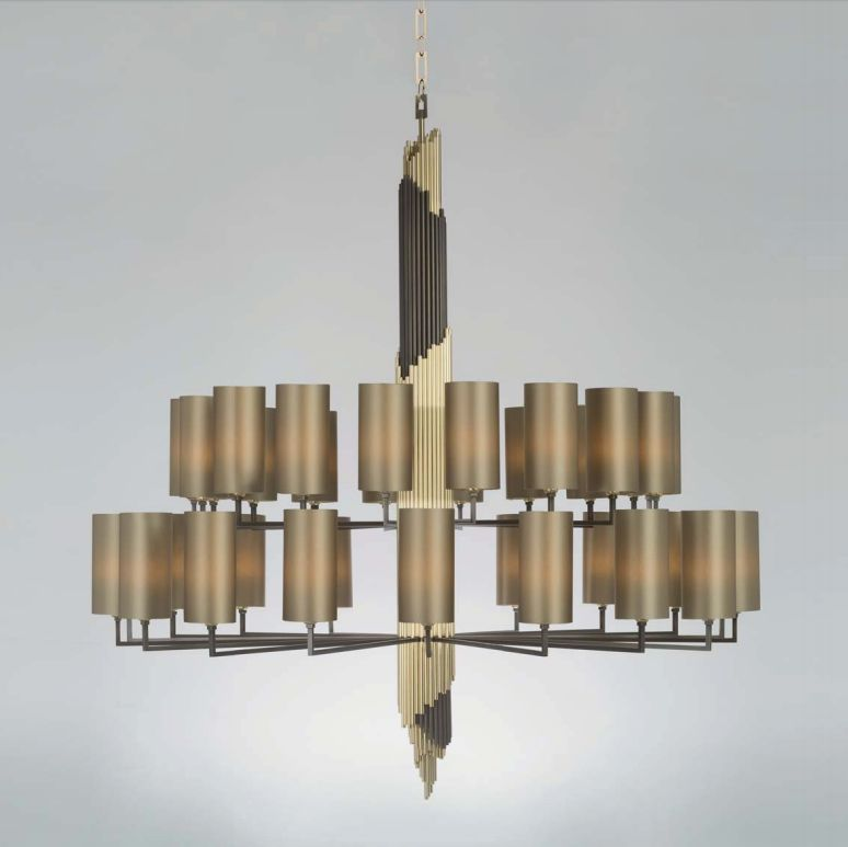 Large high-end modern brass chandelier with 36 lights