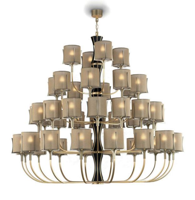 Impressive large gold and leather Italian designer chandelier with 44 lights