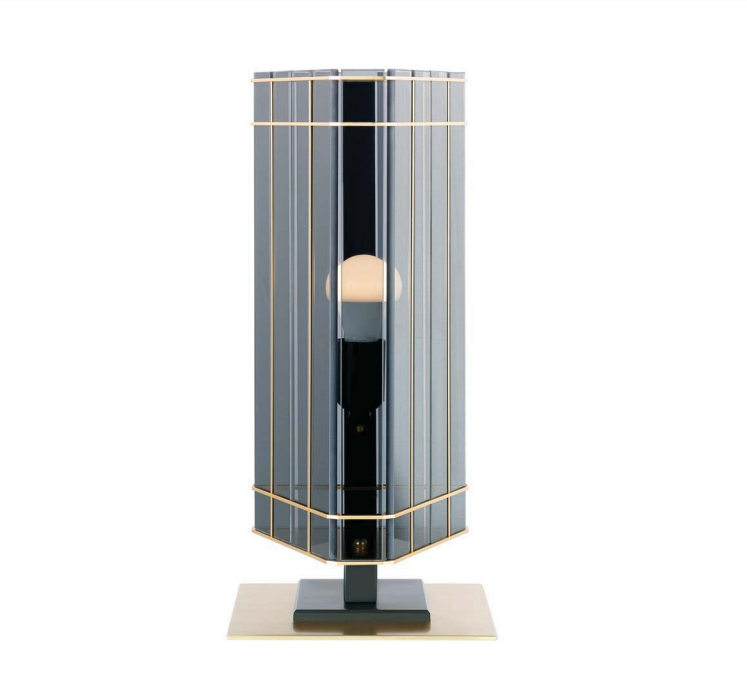 High-end modern Italian table lamp with gold frame and smoked glass shade