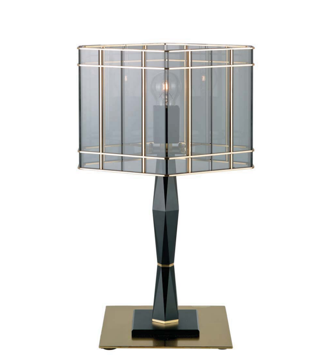 Luxury modern black and satin gold Italian table lamp with  smoked Italian glass diffuser