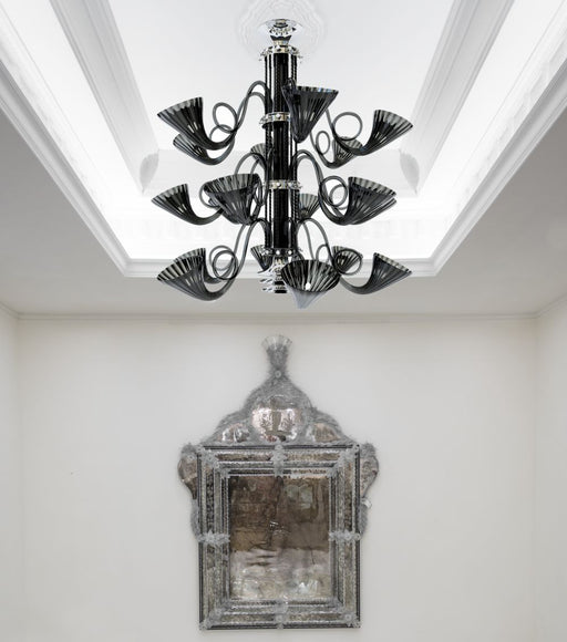 Superb large 3 tier black Murano glass chandelier with chrome frame