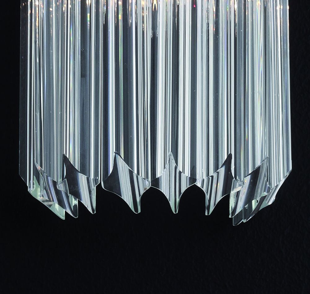 Modernist 70s style glass prism wall light with bespoke color and size possibilities