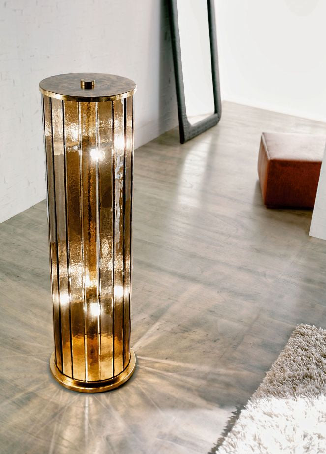 Luxurious Murano glass cylinder floor lamp with brass frame
