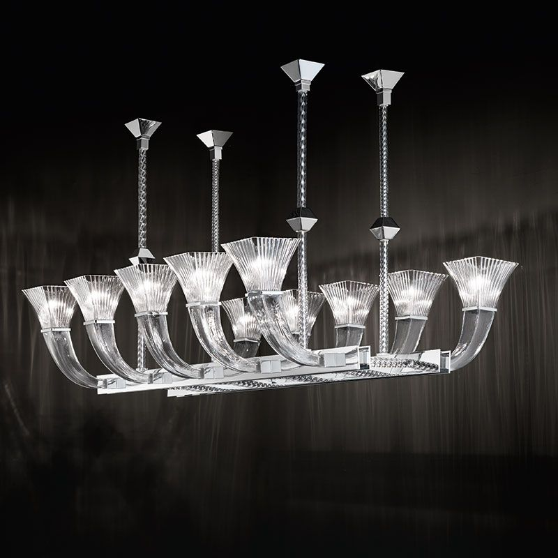 High-end modern dining table chandelier in Murano glass