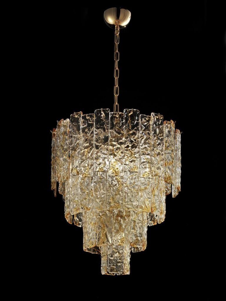 Mid-century amber Corteccia glass chandelier in custom sizes