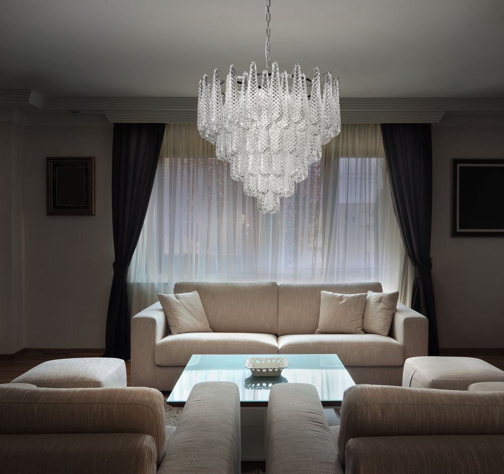 80 cm piastra glass chandelier in modernist mid-century style