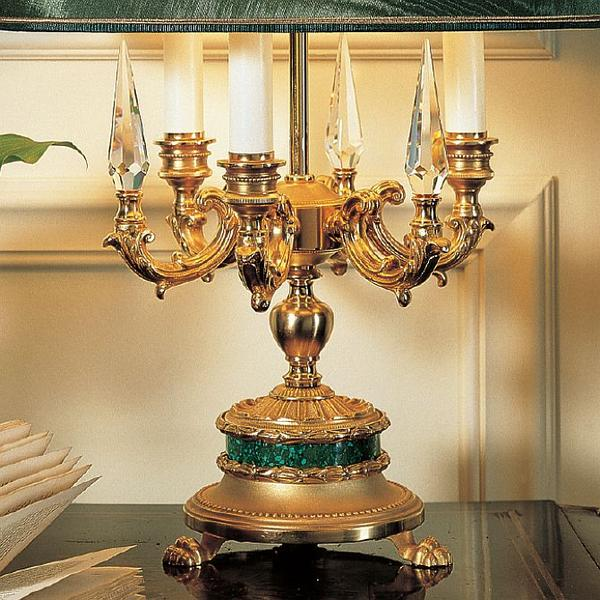 Classic Italian table light with green malachite or lapis lazuli detail and crystal spires